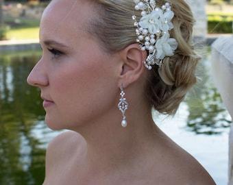 Ivory rhinestone wedding hair flower comb, wedding hair accessories, wedding flower comb, hair flower comb, ivory hair flower 205297273