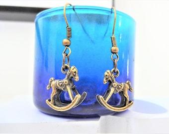 3D ROCKING HORSE EARRINGS in bronze - new baby gift - very detailed small lightweight dangle earrings