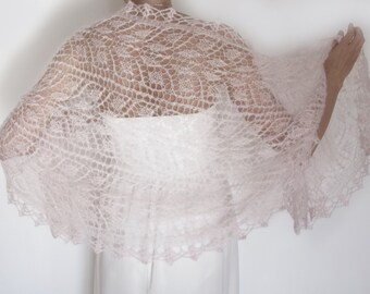 Wedding Cover Up, Knit Bridal Shawl Wrap, Pale Pink Evening Wrap, Bridal Cover Up, Evening Shawls and Wraps, Hand Knit Lace Shawl Wrap