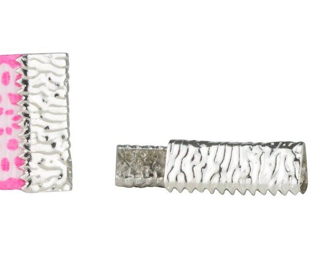 50 pieces 16mm or 5/8 inch Platinum SIlver - No Loop - Ribbon Clamp End Crimps - Artisan Series
