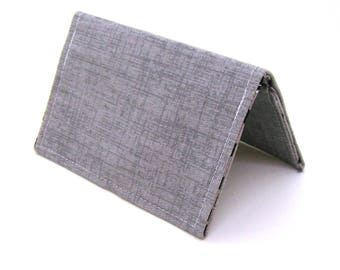Mini Wallet / Card Holder / Business Card Holder / Card Case / Gift Card Holder/ Small Wallet - Gray Twill