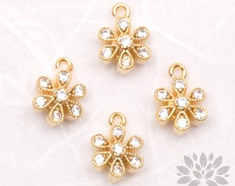 P475-G// Gold Plated 6mm Cubic Piano Flower Pendant, 2 pcs