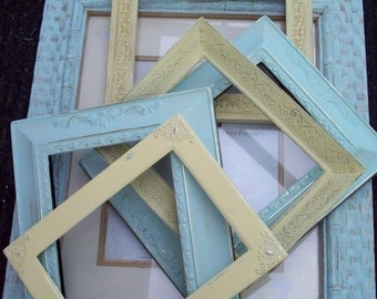 Memorial Day SALE SALE PRICE! Mint green Pale Yellow open gallery frame set of 6, Shabby Cottage ornate Nursery picture frames, Wedding Deco