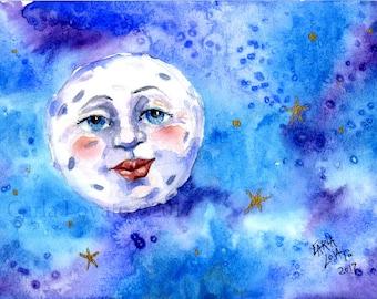 Peinture de la lune, lune visage, peinture, aquarelle, art mural, blue moon, homme dans la lune, décoration bébé, décoration enfant, art céleste