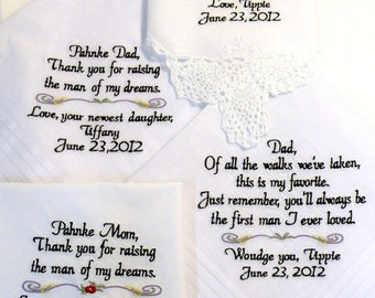 Embroidered Wedding Hankerchiefs, Wedding Hankys, Wedding Gifts for Mom & Dad, Wedding Gifts Hankys, Set of 4, By Canyon Embroidery