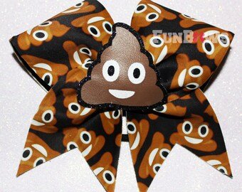 Poo Emoji    3-D cutout Cheer  bow by FunBows - WOW   !!