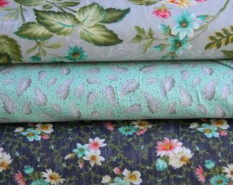 Fat Quarter Bundle of Village Garden Collection Cotton Fabric by Wilmington Prints