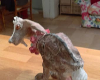 Ceramic goat with floral garland