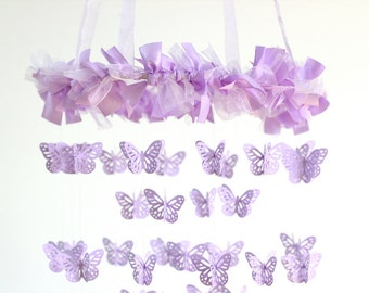 Lavender Nursery Mobile Chandelier- Butterfly Mobile, Baby Shower Gift, Nursery Decor, Wedding Chandelier