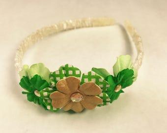 Gold and Green St. Patrick's Day Shamrock Headband