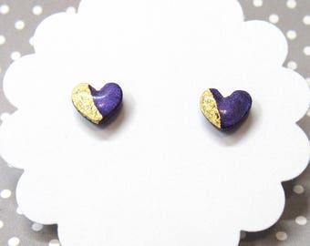 Purple Heart Earrings, Dainty Earrings, Stud Earrings, Gift for Her, Everyday Earrings, Purple Studs, Cute Earrings, 8mm, Heart Earrings
