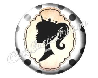 1 cabochon 30mm glass, mother's day, MOM, your black and white