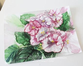 ORIGINAL Watercolor Painting, White Violets Painting, White Flowers Painting, Watercolour Art