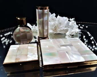 Vintage French Vanity Items Set Refillable Perfume bottles, Pillbox Holder Mother of Pearl, Vintage Art Deco Mother of Pearl Compact Case