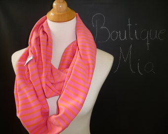 PERFECT GIFT - Infinity SCARF - Soft Jersey Knit - Pink and Orange Stripe - by Boutique Mia