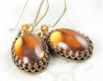 Golden Amber Earrings, Bohemian Glass Dangle Earrings, Amber Topaz Earrings, Smoky Topaz Drop Earrings, Vintage Style Dainty Gold Earrings