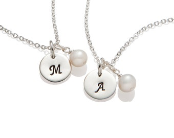 Personalized Flower Girl Necklace, Flower Girl Initial Pearl Necklaces, Flower Girl Jewelry, Wedding Jewelry