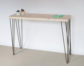 Scarlett Console Table | Whitewash console table handmade with reclaimed wood and mid-century style hairpin legs