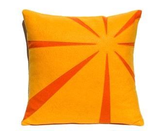 Tangerine Sunrise Eco-Felt Pillow Cover 18 inches