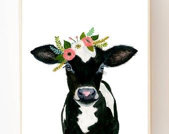 Flower crowned black calf, baby farm animals, cow painting, babby cow, prints, nursery animals, girl decor, floral nursery, big girl room