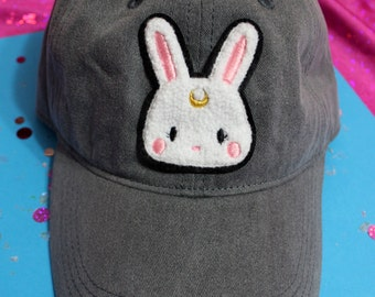 Kawaii Usagi Moon Bunny Chenille Patch Baseball Hat - Strapback Custom Hat Colors
