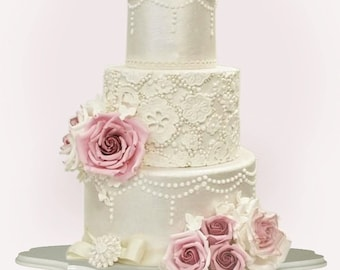 White Decosquare wedding cake stand pedestal handcrafted item