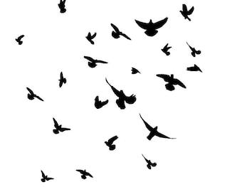 """12/12"""" Birds in flight stencil."""