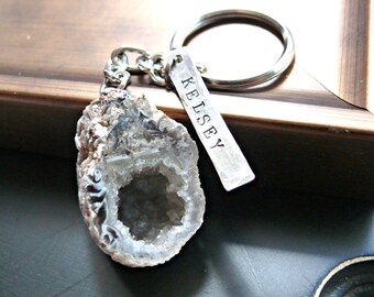 Personalized Keychain - Hand Stamped Geode Keychain - Sterling Silver Personalized Keychain