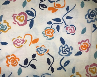 White fabric with roses - Dear Stella - Quilting Cotton Fabric - Choose your cut.