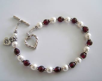 Pearls and Garnet Gemstone Heart Charm Bracelet- Item B471