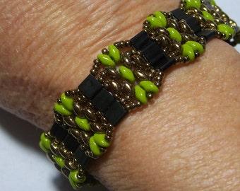 Avocado Green, Black, and  Bronze Beadwoven Superduo and Tila Bead Bracelet by Carol Wilson of Je t'adorn