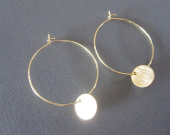 Gold Disc Hoop Earrings