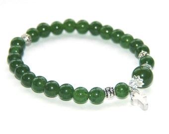 Grüne Nephrit Jade gefädelte Armband, Silber Kreuz / Christian