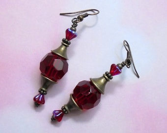 Crimson Red and Brass Earrings (2451)