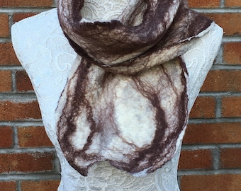 Brown and cream stripe cobweb felted scarf