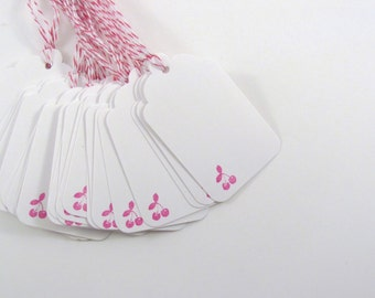 Pink Cherry Stamped White Gift Tags with Pink and White Bakers Twine Mason Jar Tag Rockabilly Wedding Tag