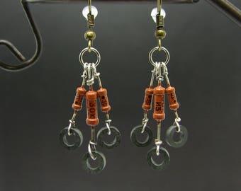 Steampunk earrings Handmade jewelry Soviet vintage Eco friendly Jewellery Computer earrings Geek girlfriend gift Recycled steampunk jewelry