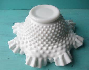 Vintage Fenton Milk Glass Hobnail Serving Bowl