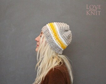 Sale Unisex Knit Beanie Mens Winter Beanie Womens Hand Knitted Beret One of a kind Knit Hat Grey Yellow White Striped Sport Beanie Hipster H