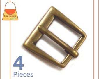 """Small 1/2 Inch Square Buckles, Antique Brass / Bronze Finish, 4 Pieces, Handbag Purse Bag Making Hardware, 1/2"""" , .5 Inch, .5"""", BKL-AA001"""
