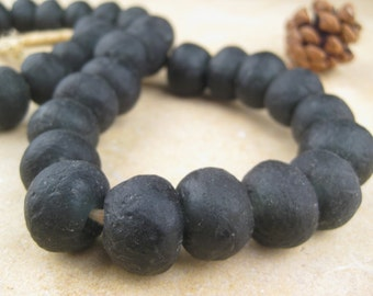 Black Recycled Glass Beads: World's Most Eco-Friendly Beads! Ghana Beads - African Beads - Wholesale Glass Beads - Made of Bottles 653