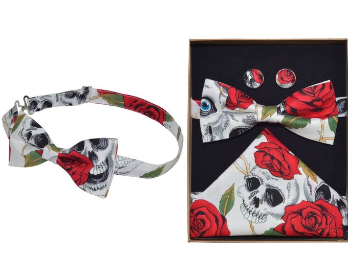 Ivory and Red Skulls and Roses Bow Tie & Boxed Set
