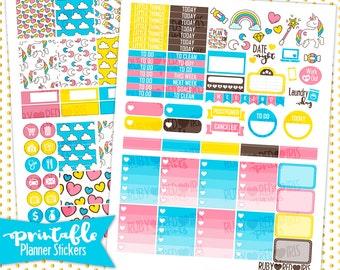 Unicorns | PRINTABLE Planner Stickers | Pdf, Jpg, Silhouette Studio V3 Format | ECLP Vertical Planner Stickers