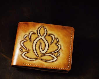 Hand engraved Buddha sitting on lotus, hand made leather wallet