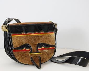 Vintage Large Colombian Carriel Genuine Patent Leather & Fur Unisex Satchel