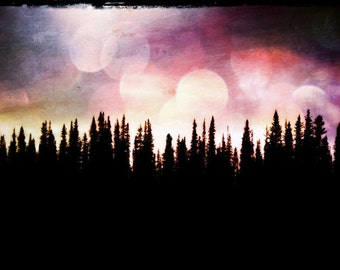 "Surreal Arctic Landscape Photo ""Midnight Sun"" Mysterious Forest Art Print - Northern Lights Art Aurora Borealis"