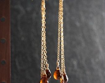 Garnet Teardrop Earrings, Spessartite Garnet Long Earrings, January Birthstone, Gemstone Earrings