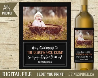 Reason You Drink Wine Label, Personalized Nanny Gift, Coach Wine Label, Teacher Photo Gift, Teacher Gift Idea, DIGITAL FILE