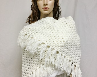 White Knit Shawl, Fringed Wrap