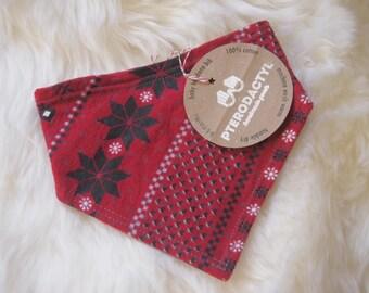 Baby Bandana Bib - Santa's Little Helper (diagonal snowflakes) - Christmas Bib